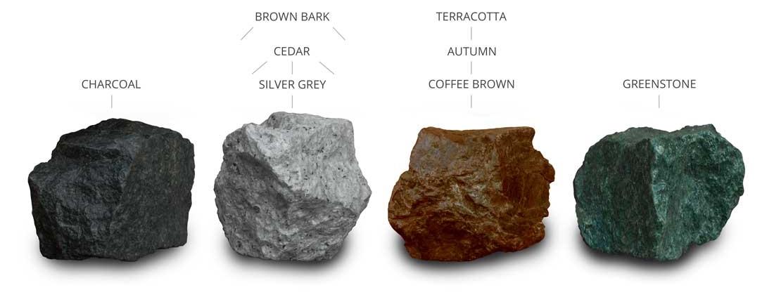 Steingranulat in Naturfarben